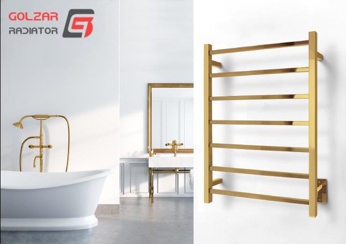 حوله خشک کن مدرن بسیار شیک طلایی رنگ 7 چره به همراه دکوراسیون عالی حمام